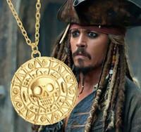 collar de moneda de oro para los hombres al por mayor-Vintage Bronce Oro Pirata Encantos Azteca Moneda Collar Hombres Película Collares pendientes para Dama Navidad Regalo Declaración Joyería