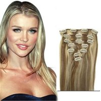 Wholesale Blonde Hair Clip Piece - #12 613 mixed color Brazilian Clip In Human Hair Extensions 7 Piece Thick Clip In Human Hair Extension Full Head