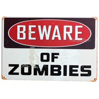 Wholesale BEWARE OF ZOMBIES Metal Decor Plaque Tin Vintage Sign Motto Plate halloween holiday wall art decor display SPM8 x30cm A2