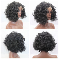 Wholesale New Look Hair - New Sexy Cheap Natural Looking Black Short Curly Wigs for Black Women Heat Resistant Synthetic Lace Front Wigs with Baby Hair High Quality