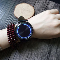 Wholesale Led Leather Watch For Men - Fashion Leather Band Touch Screen LED Watches For Women Men with Tree Shaped Dial Blue Light Display Time