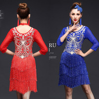 Wholesale Latin Outfits - Tassels Women Competition Salsa Latin Dance Clothes Sequins Costume Set Outfits Fringe Salsa Dresses Latin Ballroom Dance Outfits