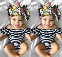 Wholesale Black Lotus Clothing - 2017 Summer New Baby Girls Bodysuits Black White Stripe Lotus Leaf Collar Overalls Infant Clothing KA209