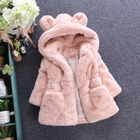 Wholesale Pink Lolita Coat - Children faux fur coat winter new baby girls cute ear hooded Faux fur coat kids fleece thicken warm outwear children cartoon coat A00045