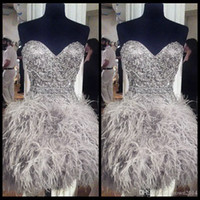 Wholesale Gray Sweetheart Cocktail Dress - 2017 Short Prom Dresses With Feathers Sweetheart Neck Corset Lace Up Back Graduation Homecoming Dress Beading Crystal Cocktail Girls Gowns