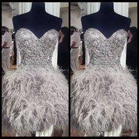 dantel boyun balo elbiseleri toptan satış-2020 Kısa Abiyeler Feathers Sweetheart Boyun Korse Lace Up Geri Mezuniyet Buluşması Elbise Boncuk Kristal Kokteyl Kız törenlerinde ile