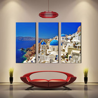 Wholesale Villa Paintings - 3 Picture Canvas Paintings Aegean Sea Seaside Villa Paintings Printed On Canvas with Wooden Framed For Home Wall Decor Ready to Hang