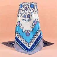 Wholesale Wholesale Plain Satin Headbands - Retro National Cashew Scarf Satin Scarves 90*90CM Fashion Big Square Printed Ladies Muslim Turban Neckerchief Headband