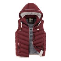 Wholesale New Fashion Waistcoat - Wholesale- Colete Masculino New Mens Jacket Sleeveless Veste Homme Winter Chaleco Fashion Casual Hooded Cotton-Padded Coats Waistcoat XXXL