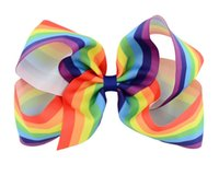 """Wholesale Wholesale Girls Hair Bubbles - 6"""" Girls Rainbow Bow Clips Baby Bubble Flower Ribbon Bowknot Hairpin Kids Large Barrette Hair Boutique Bows Children Hair Accessories"""
