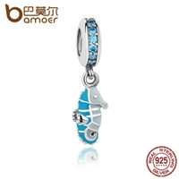 Wholesale Turquoise Bracelets Real - Wholesale- Real 925 Sterling Silver Tropical Seahorse Teal CZ & Turquoise Enamel Beads Charm Fit Bracelet Jewelry Making PAS232