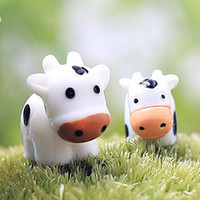 Wholesale Cow Crafts - 2Pcs Cow Animals Fairy Garden Miniatures Mini Gnomes Moss Terrariums Resin Crafts Figurines For garden decoration