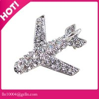 Wholesale airplane flights for sale - Group buy 50pcs zinc alloy hot sale high quality custom color airplane brooch rhinestone flight brooch pin