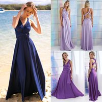 Wholesale Evening Gown Night Dress - Women's Elegant Women Evening Dress Convertible Multi Way Wrap Bridesmaid Formal Long Dresses Dance Gown Formal Long Dresses HJ075
