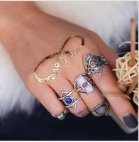 Wholesale Gem Clusters - 60set 5pcs Set Bohemian gem Knuckle ring set Alloy Jewelry Vintage Silver Plated Ring Set elephant Cluster Rings for women F168