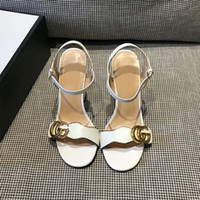 Wholesale Metal High Heels Shoes - Spring Women's Genuine Leather Sandals Coarse With High-heeled Shoes European Wind Metal Buckle Mj