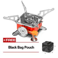 Camping Stoves outdoor kitchen stove - Outdoor Kitchen BTU Automatic Piezoelectric Butane Gas Stoves Four Square Burner Mini Card Furnace Picnic Camping Stove