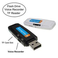 kart okuyucu mp3 toptan satış-2 in 1 Mini USB Ses Kaydedici taşınabilir Şarj Edilebilir pil Kayıt Kalem MP3 formatı Kaydedici destek TF kart USB kart okuyucu