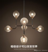 dna art Canada - North Europe led pendant light 8 globe art glass chandelier DNA pendant lights for coffee clothing lighting fixture