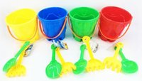 Wholesale Plastic Bucket Beach Toys - 3PC Beach Bucket Playsets Garden tool Play tools set toys set 4 colors assorted #267737