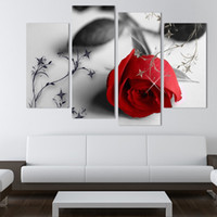 Wholesale Modern Canvas Art Flower Painting - 4 Pcs Hot Sell Red Flowers Wall Art Canvas Painting Modern Wall Pictures For Living Room New Modular Pictures(No Frame)