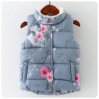 Wholesale Girls Goose Down Coats - Baby Girls Floral Print Waistcoat 2017 Winter Kids Girls Graffiti Vests Coat Kids Girl Warm Jacket Children Outerwear Clothing S421