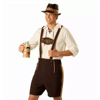 Wholesale Men Short Catsuit - Men Oktoberfest Costume Set Bavarian Octoberfest German Festival Beer Cosplay Adult Plus Size Halloween Costumes Hat Top Short PS020