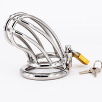 Wholesale Metal Locking Bras - Male Chastity Devices Stainless Steel Cock Cage For Men Metal Chastity Belt Penis Ring Sex Toys locking Cockring Bondage Adult Products