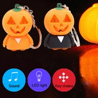Wholesale Innovative Lights - Pumpkin Man Shape Cell Phone Straps with LED Sounding and Lighting Key Chains Innovative Toys Halloween Gift