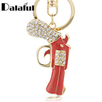 Wholesale Acrylic Holder For Bags - beijia Enamel Revolver Magnum Gun Key Chains Holder Crystal Purse Bag Buckle Pendant For Women Gift Keyrings KeyChains K274