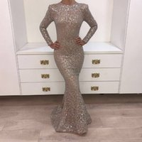 Wholesale Sliver Sequin Evening Dress - Real Pictures 2018 Crystal Evening Gowns Dark Champagne O-neck Prom Dresses Long Sleeve Shiny Sliver Yousef Aljasmi Mermaid Party Dresses