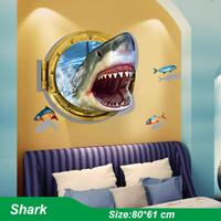 Wholesale 3d Ocean - 3D Cartoon Child Room Wall Sticker Sweet Animal Ocean Theme Home Decals Beautiful Mural Art PVC Poster For Kids Bedroom Wallpaper Decoration