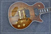 ingrosso chitarra naturale di qualità-Nuovo Arriva, Chitarra elettrica custom OEM di alta qualità con Top in acero spalted, Antique Natural, Binding, spedizione gratuita