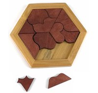 Wholesale Baby Jigsaw Puzzles - Baby Kids Brainstorming Wooden Heart Shaped Jigsaw Puzzle Tangram Board Toys Educational Shape Cognitive Toys Gift for Children
