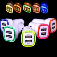 Wholesale Ipad Usb Lead - 100pcs LED Light dual usb Port car charger 2ports Adapter 5V 2.1A+1A for Iphone 4 5 6 7 for ipad for samsung gps mp3 pc
