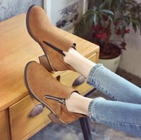 Wholesale Heel Booties For Women - Wholesale-Women Boots 2016 Autumn Winter Shoes For Woman Ankle Boot Low Heels Booties oxfords Platform Ladies Shoes zapatos mujer S025