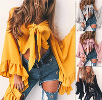 Wholesale Sexy Pearl Blouse - Women Ruffles Blouse Ladies Sexy Blouses Yellow Deep V Neck Oversized Petal Sleeve Top Blouse Elegant Tops Formal Clothing pink DY170731
