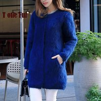 Wholesale Long Pure Cashmere Coat Women - Wholesale- 100% Genuine Mink Cashmere Coat Real Mink Cashmere Cardigans Nature Pure Mink Fur Sweaters Factory Customize Wholesale KFP910