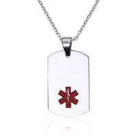 Wholesale Custom Engraving Necklace - Stainless Steel Medical ID Dog Tag Necklace with Chain -Free Custom Engraving,Diabetic,Asthma