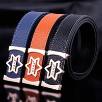 Wholesale Black Leather D Belt - 2017 Smooth Buckle Punch Litchi New Belt Men's Women Do Not Have Watermark Letters Leather Belt H628