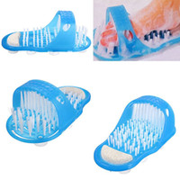 Wholesale foot leg massager - Wholesale-1pcs New Reliable Easyfeet Easy Feet Foot Scrubber Brush Massager Clean Blue Slippers Bathroom Foot Care Tool Gift