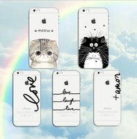 pele do animal da tampa do iphone venda por atacado-Phone case para iphone6 ​​/ 6s plus 7 7 plus macio tpu silicone transparente fina capa bonito cat dog animais pele shell