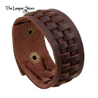 Wholesale Make Leather Cuff Bracelets - Wholesale- The original punk fine jewelry the retro genuine leather weaving charming bracelet for man and women personalized hand made