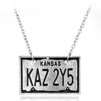 Wholesale American License Plate - New Style Fashion Jewelry Supernatural Dean License Plate Chains For Men Alloy Jewelry Wholesale European And American Movies Around Pendant