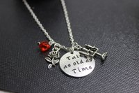Wholesale 12pcs silver Beauty and the Beast inspired Necklace Tale as old as time necklace Beauty and Beast Charm Necklace Fairytale