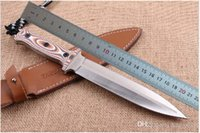 Wholesale Aus Fixed - Custom AUS-10 Double Action Blade Fixed Blade Knife Outdoor Tactical Survival Bowie Jungle Camping Hunting Fishing knife with Leather Sheath