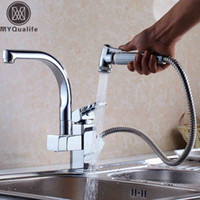 Wholesale Kitchen Faucet Spray Spout - Wholesale- Factory Direct Sale Modern Solid Brass Pull Out Spray Chrome Brass Kitchen Faucet Mixer Tap Single Handle Two Spouts