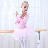Wholesale Toddler Girl Ballet Leotards - Cotton Pink Bellet Skirt Children Professional Long Sleeve Ballet Tutu Toddler Leotards Stage Ballet Dancing Dress For Girls
