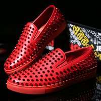 Wholesale Geometric White Womens Top - New 2016 mens womens red bottom sneakers white genuine leather full spikes loafers flats,top quality causal sports shoes 38-43
