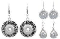 Silver Color Spiral Round Shape Rhinestone Water Drop Sun Flower Flower Shape Dangle Hook Charm Earrings S'adapte aux Boutons Snap DIY N512Q
